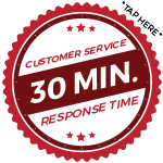 30 minute customer service response times during business hours.