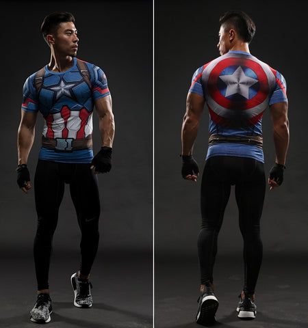 Captain America Civil War 3D Printed Compression Shirt