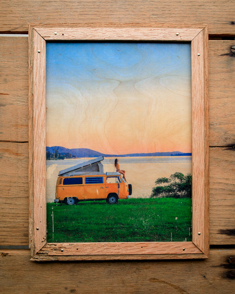 Lakeside Camp - Handmade Wood Print