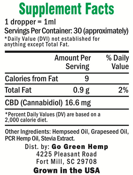 GoGreen Hemp Unflavored 500mg Supplemental Facts