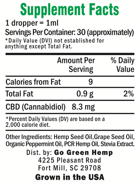 GoGreen Hemp Peppermint 250mg Supplemental Facts