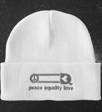 "The Beanie Project's White ""Love, Equality Peace"" Beanies"