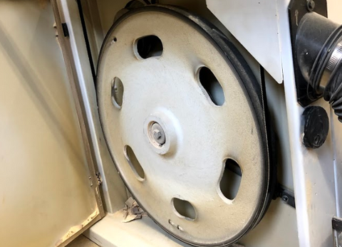 rubber bandsaw tire after being installed onto a wheel