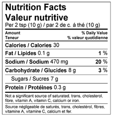 Honey Garlic Marinade Mix Nutrition Facts Label