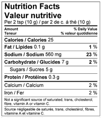 Maui Marinade Mix Nutrition Facts Label
