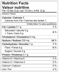 Peri Peri Marinade Mix Nutrition Facts Label