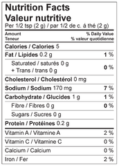 Butter Chicken Nutrition Facts Label