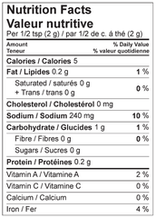 Chicken Tikka Marinade Mix Nutrition Facts Label
