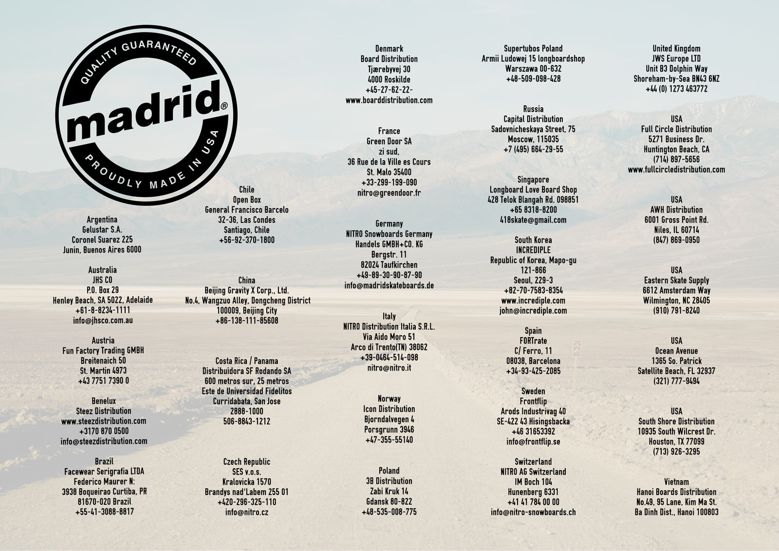 Madrid Skateboards Distributor List