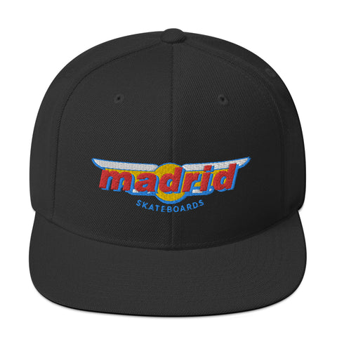 Madrid Embroidered Wings Classic Hat Black