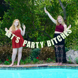 Let's Party Bitches - Gold Sparkly Glitter Banner - Wrinkled Wedding Dress DIY Bride