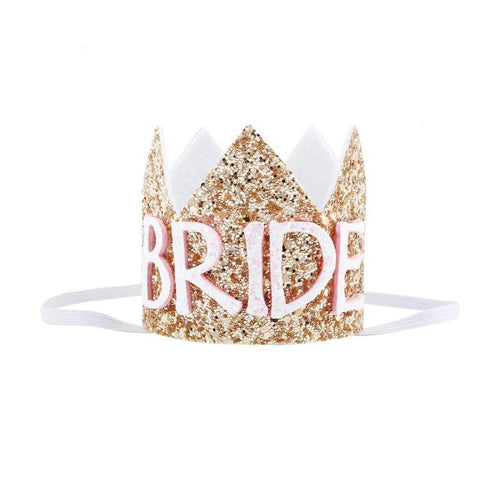 Little Bride Glitter Crown with Stretchy Flexibility Gold or Silver Sparkle Hat Options for Bachelorette Bridal Shower