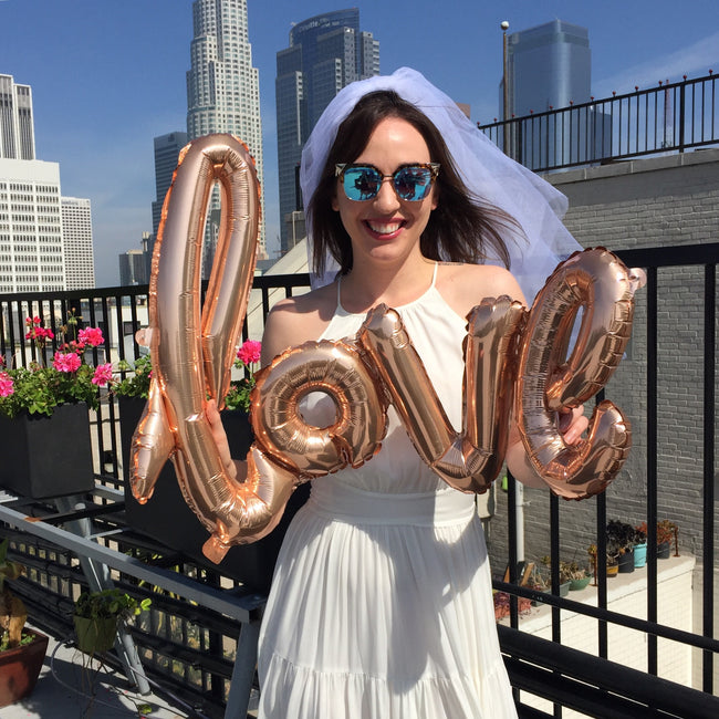 """Love"" Foil Balloons - Rose Gold Ballon Letters, 40"" long - Wrinkled Wedding Dress DIY Bride"