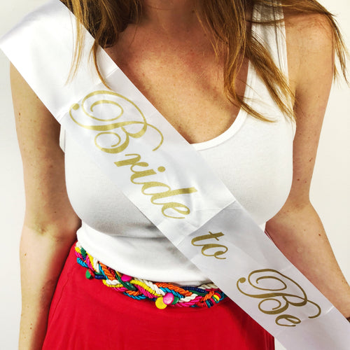 Bride to Be Satin Sash - White and Gold