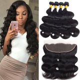 Brazilian bundle Virgin Hair Body Wave With Lace Frontal  13x4 Ear To Ear Lace Frontal Closure - Candybeautynow