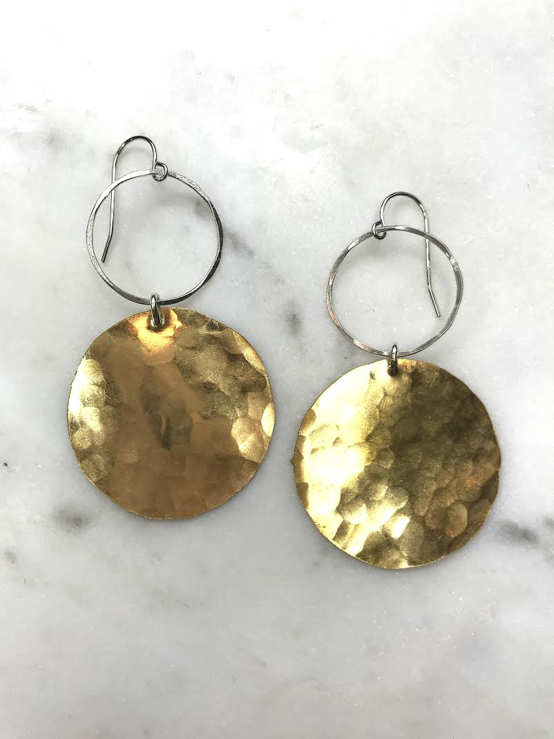Hoop and Brass Earrings