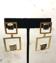 square gem earrings