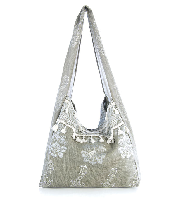 Fabric Hobo bag Gray Silver