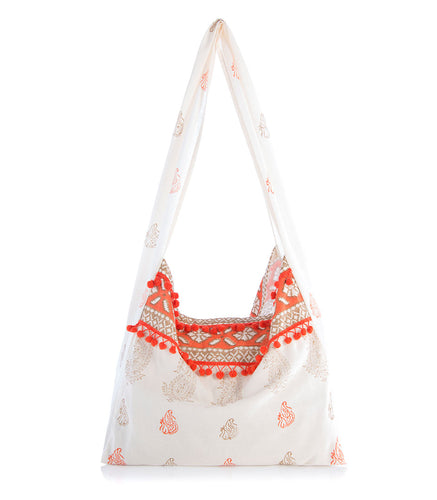 Astra Fabric Hobo Bag- Cream and Cayenne