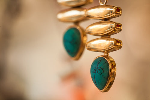 blue gold earrings