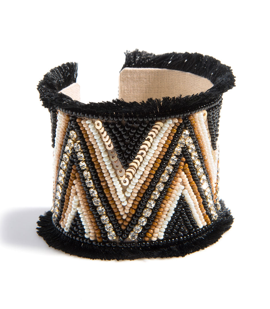 Intricate Beaded Cuff- Black