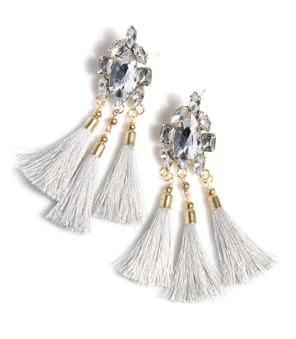 Collette Crystal Tassels- Gray