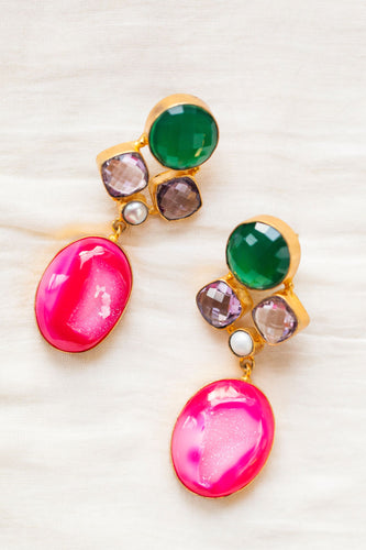 pink green statement earrings