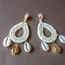 cowrie beaded drop earrings