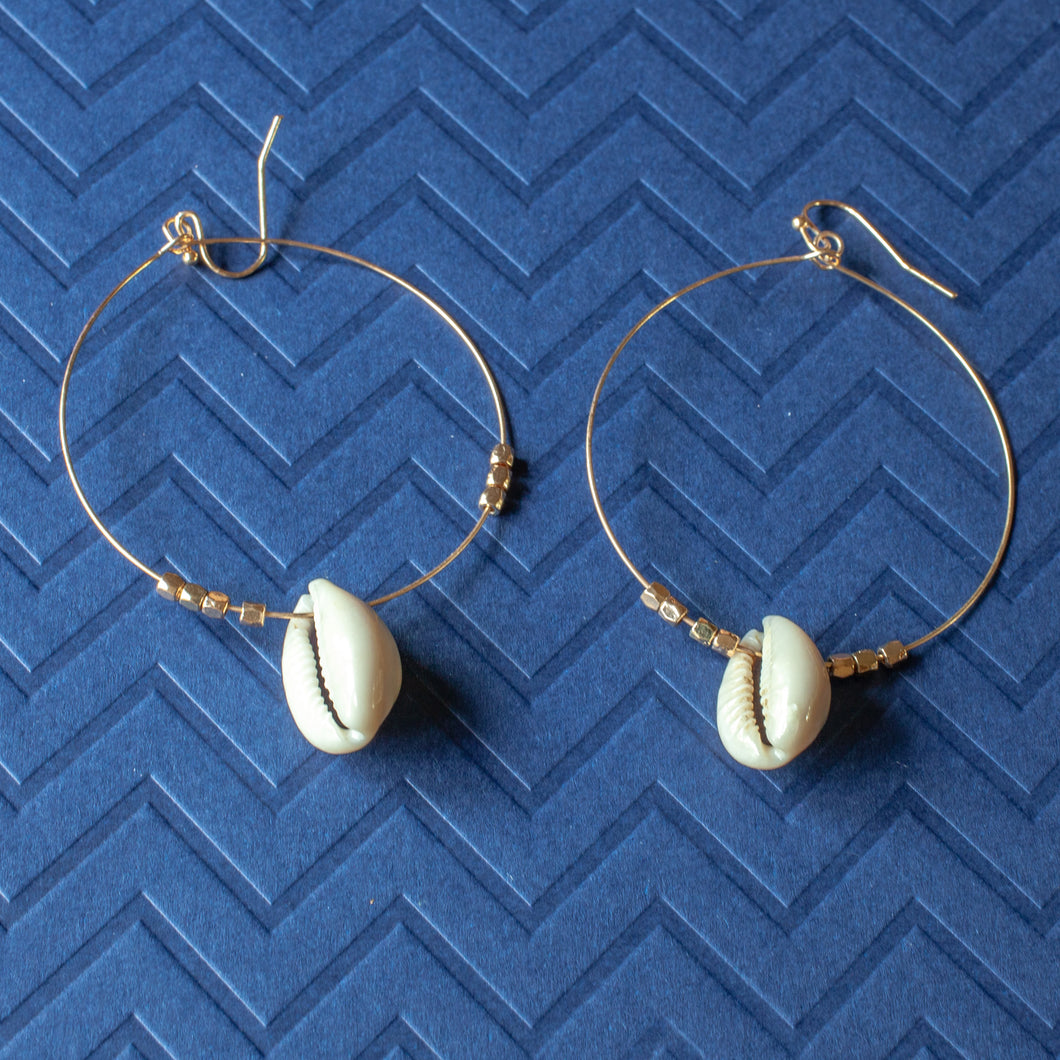 shell charms hoop earrings