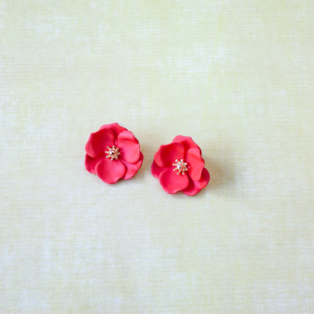 colorful floral stud earring