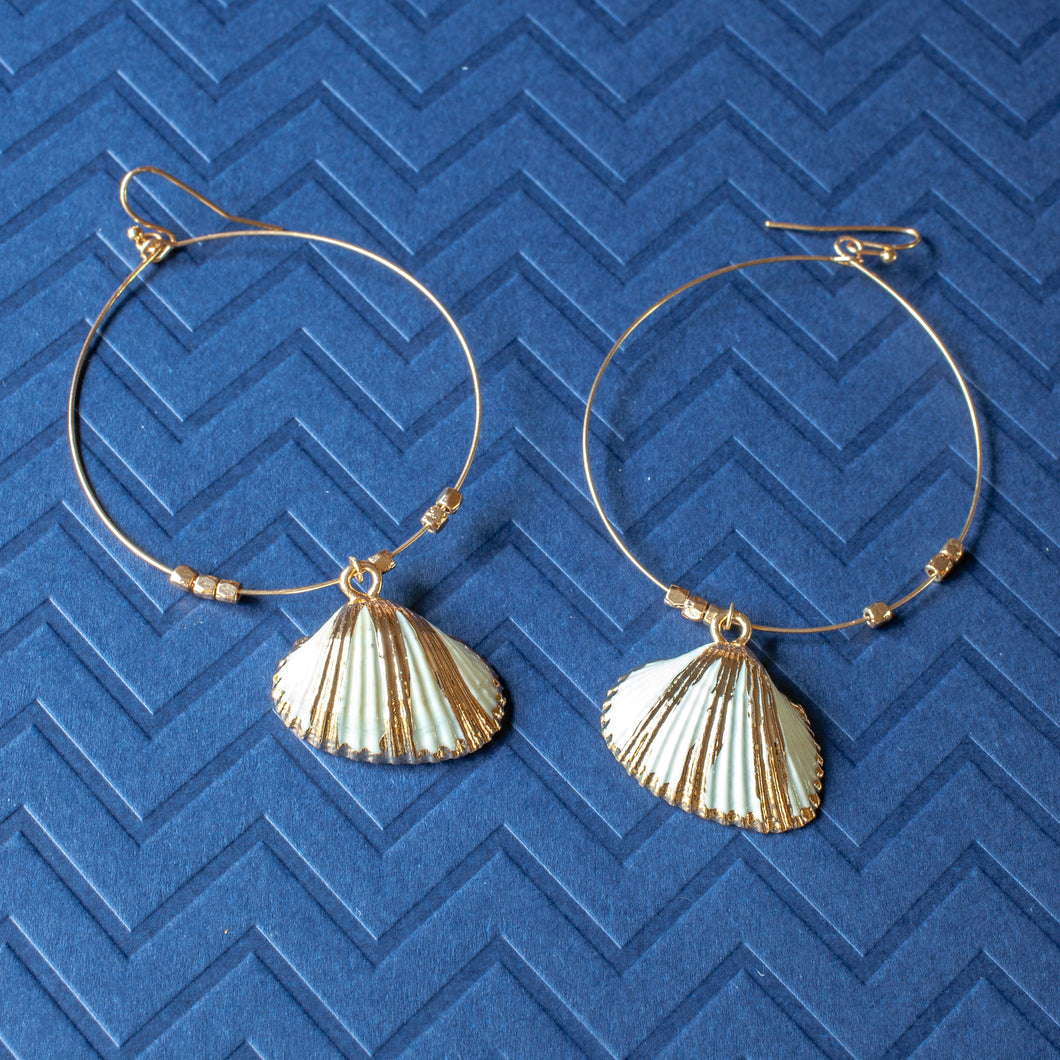 shell charm hoop earrings