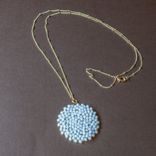 bright white beaded pendant necklace