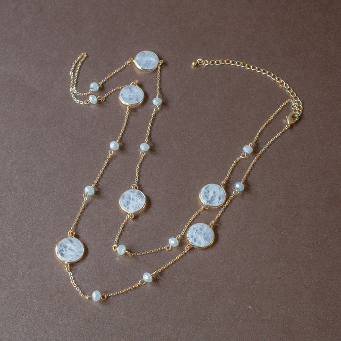 station necklace white stone