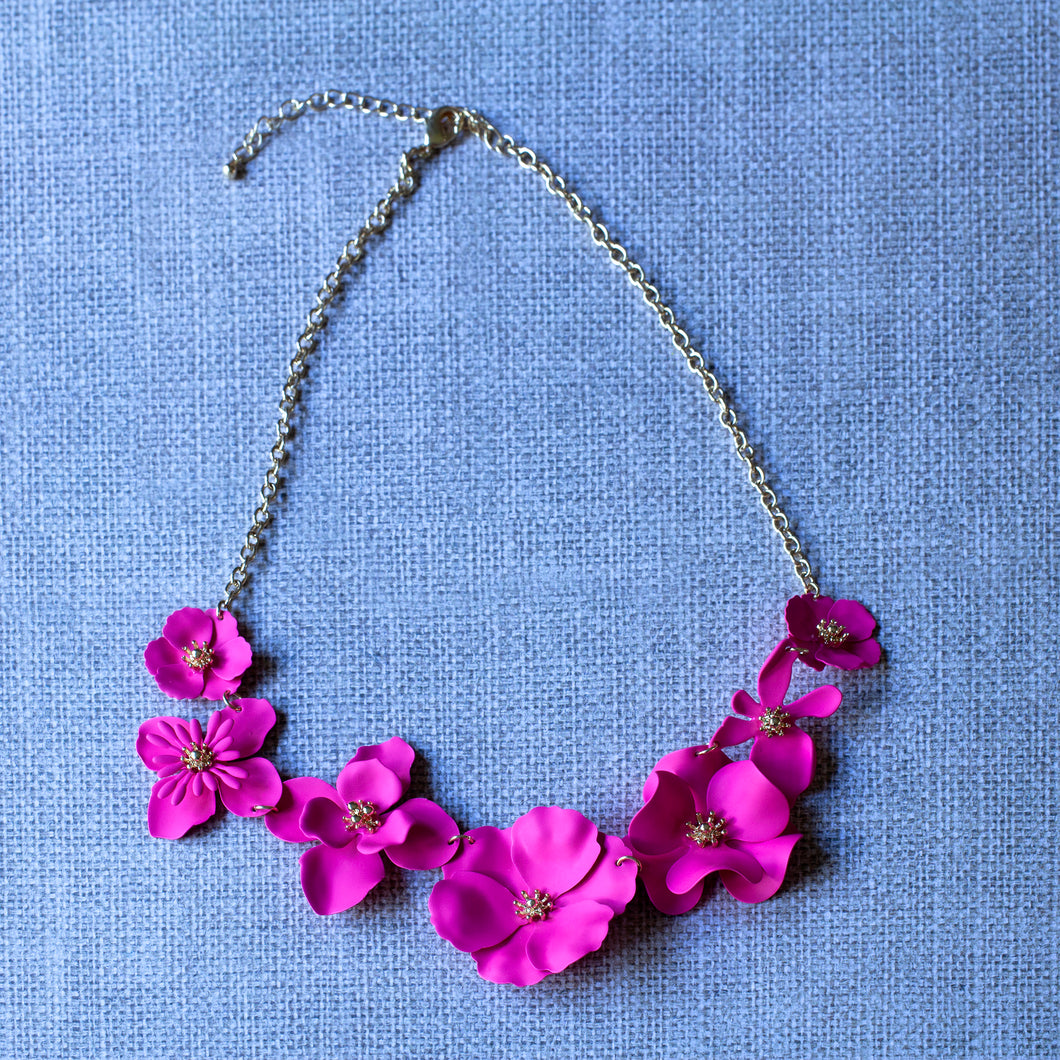 bright pink floral necklace
