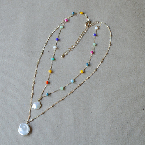 2 layer rainbow necklace