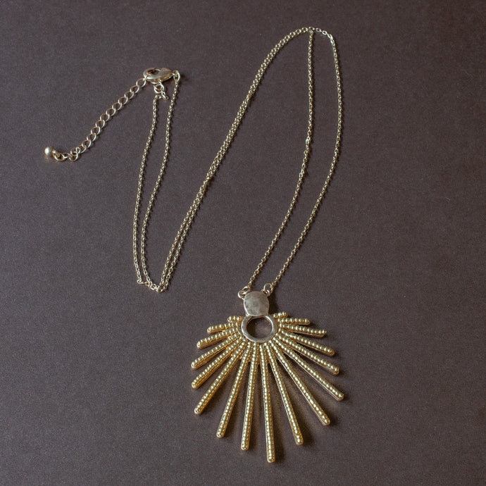 sunburst pendant long necklace