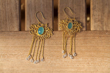 filigree blue earrings