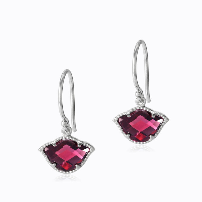 rhodolite lotus earrings