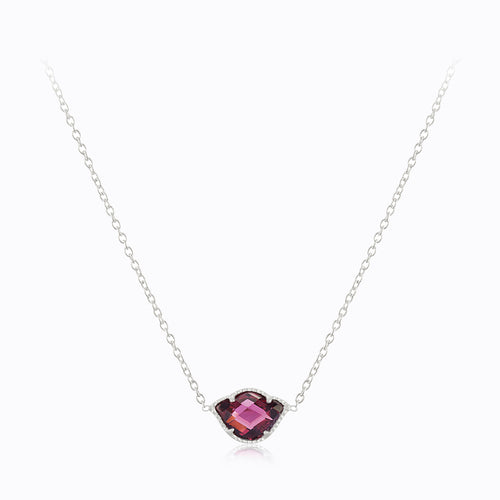 Lotus Pendant Necklace with Rhodalite