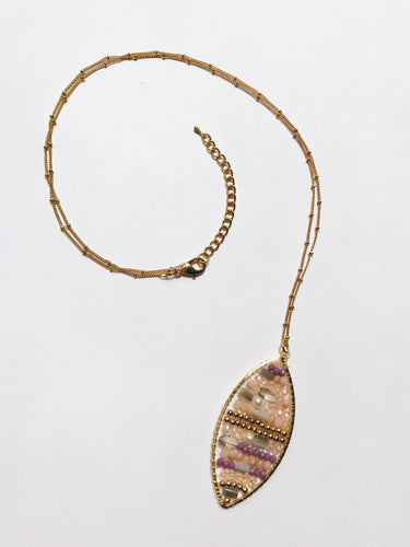 Macy Beaded Oval Long Necklace
