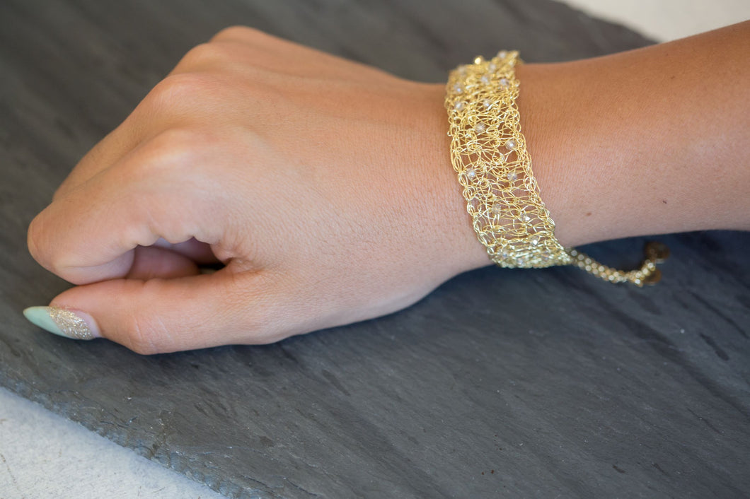 adjustable gold mesh bracelet