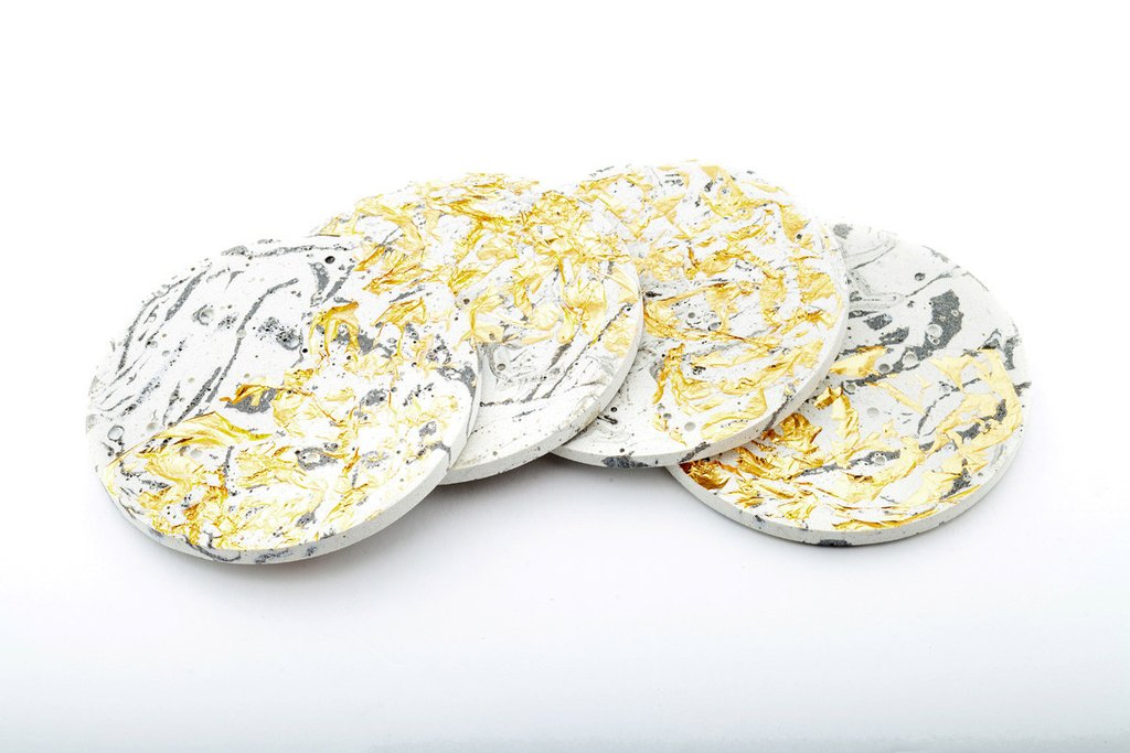 Marble Concrete Fractured Coasters - Gold