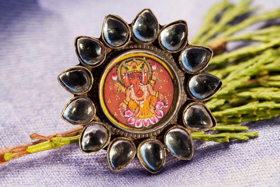 painted ganesh silver ring