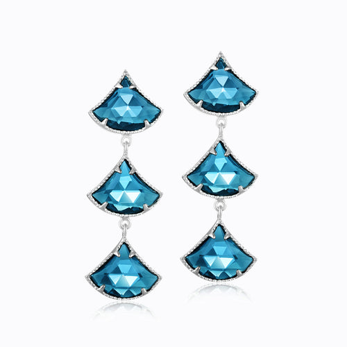 Triple Fan Earrings - London Blue Topaz