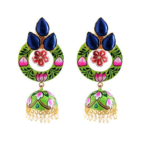 blue green statement earrings