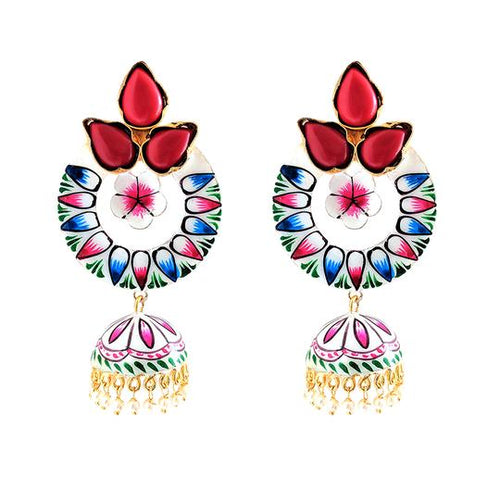 Sisodia Red Enamel Earrings