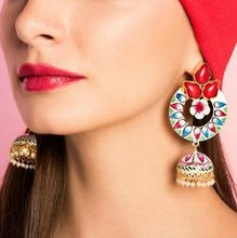 red diwali earrings