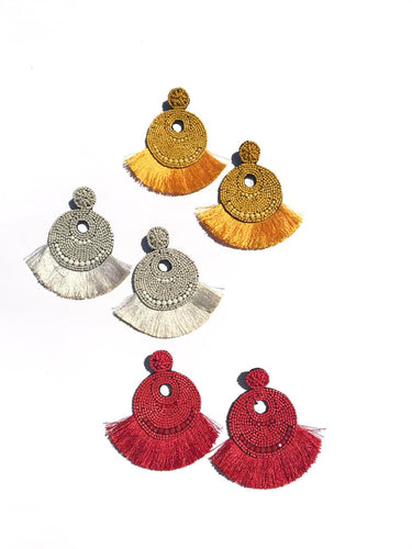 Sofia Beaded Fringe Earrings - Fire Colors