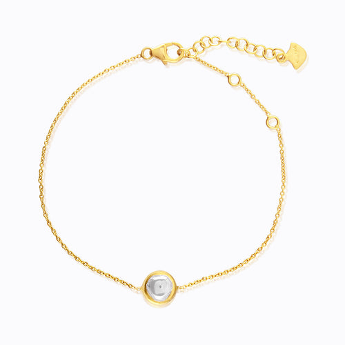 Round Pendant Delicate Gold and Diamond Bracelet