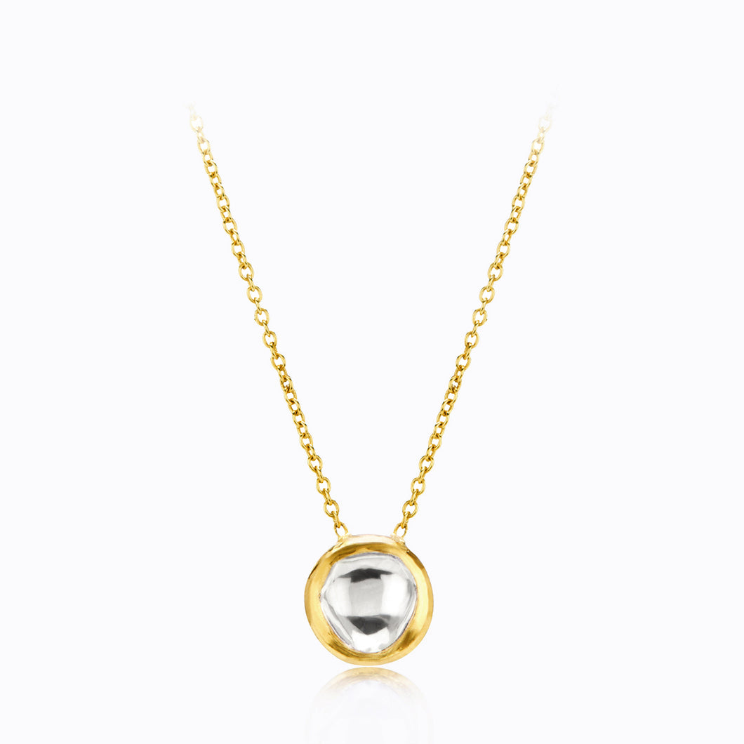 Round Pendant Delicate Gold and Diamond Necklace
